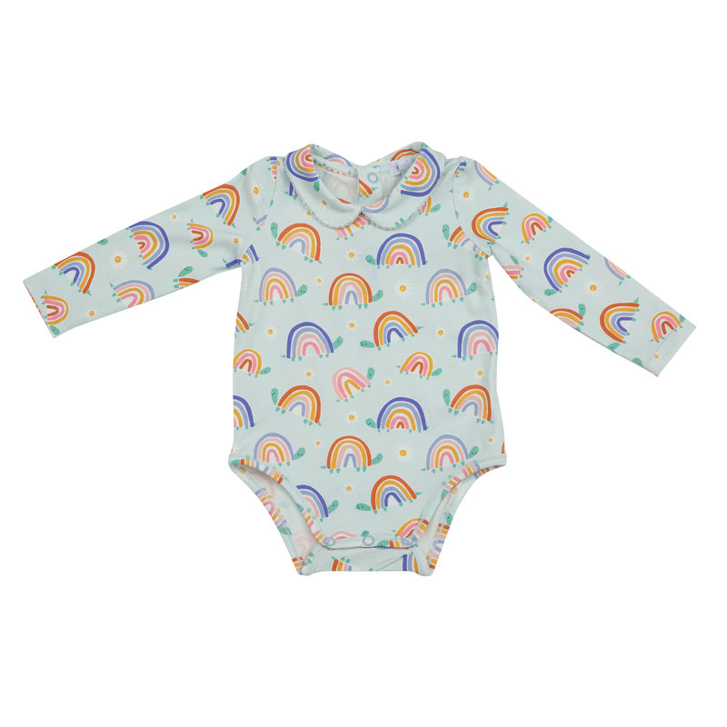 Angel Dear Angel Dear Rainbow Turtles Peter Pan Collar Bodysuit