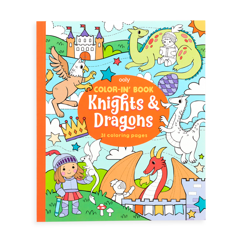 Ooly Ooly Color-in' Book: Knights & Dragons (8x10)