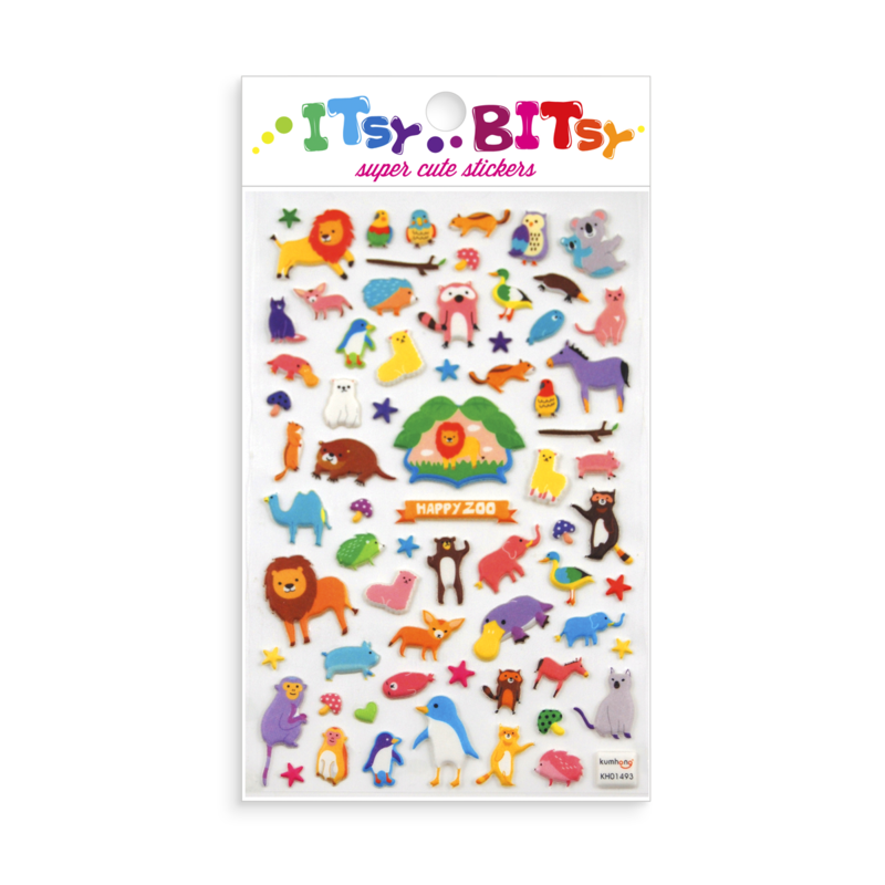 Ooly Ooly Itsy Bitsy: Happy Zoo Stickers- 1 Sheet