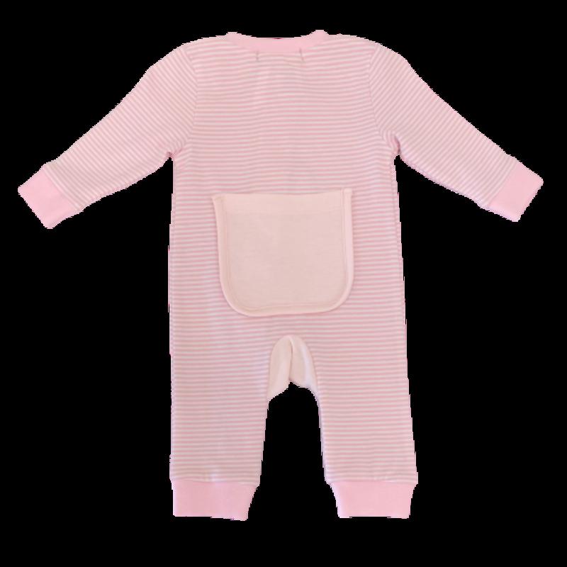Just Blanks Just Blanks Light Pink Stripe Zipped Pajama
