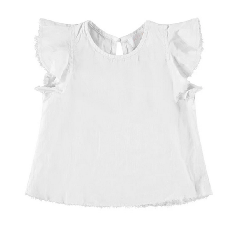 Bella Dahl Girl Bella Dahl Flutter Sleeve Swing Top- White