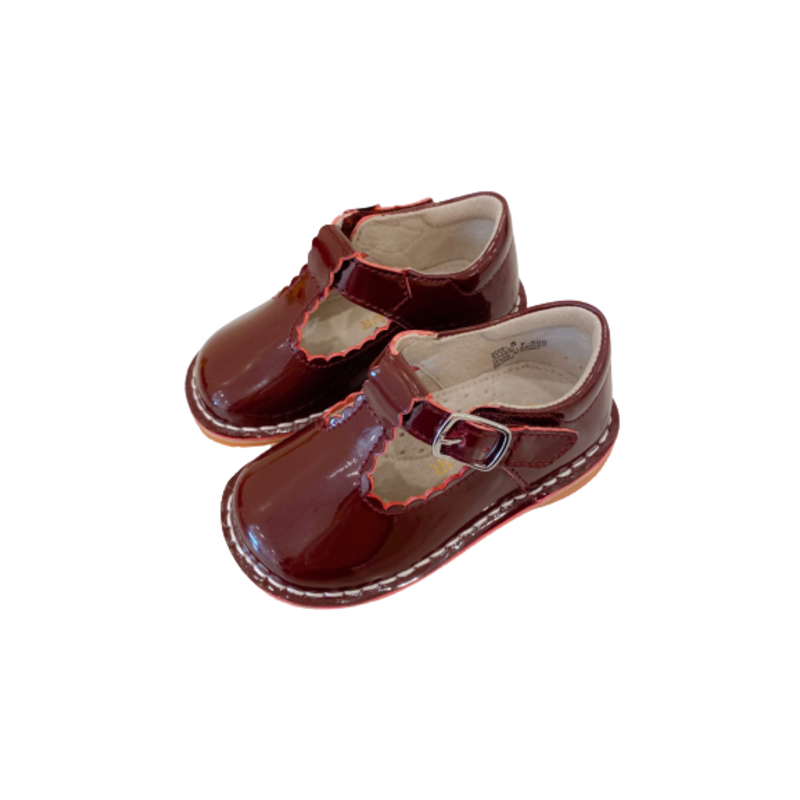 L'Amour L'Amour Selina Scalloped T-Strap Mary Jane- Patent Burgundy