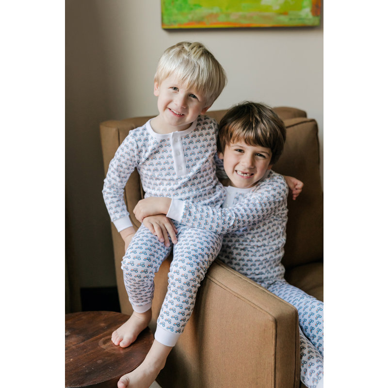 Lila + Hayes Lila + Hayes Jack- Tractor Button Placket 2pc Pajama Set