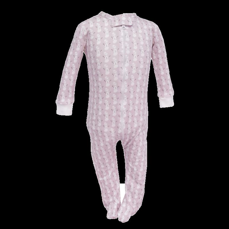Lila + Hayes Lila + Hayes Parker- Pink Snowman Zipper Pajama
