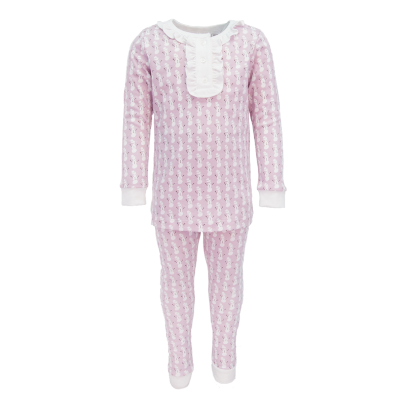 Lila + Hayes Lila + Hayes Alden- Pink Snowman 2pc Pajama Set