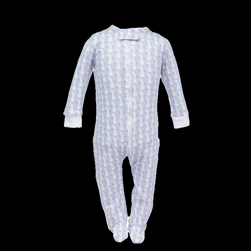 Lila + Hayes Lila + Hayes Parker- Blue Snowman Zipper Pajama