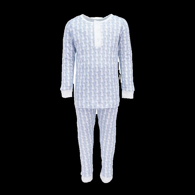 Lila + Hayes Lila + Hayes Jack- Blue Snowman 2pc Pajama Set