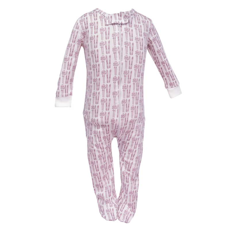 Lila + Hayes Lila + Hayes Parker- Ski Girls Zipper Pajama