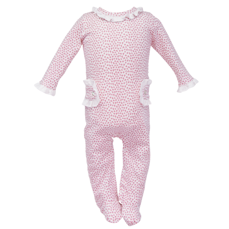 Lila + Hayes Lila + Hayes Lucy- Hearts Afloat Footed Romper