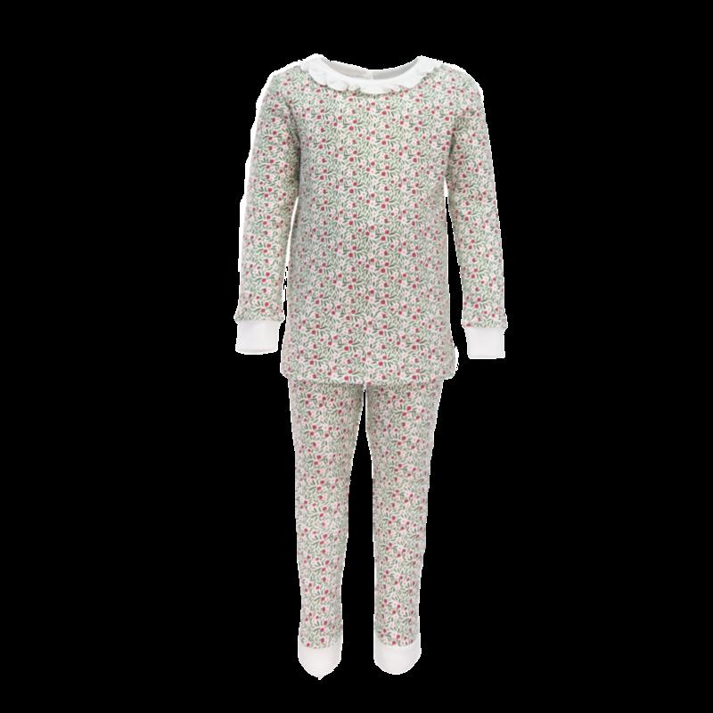 Lila + Hayes Lila + Hayes Ava- Christmas Floral Ruffled 2pc Pajama Set