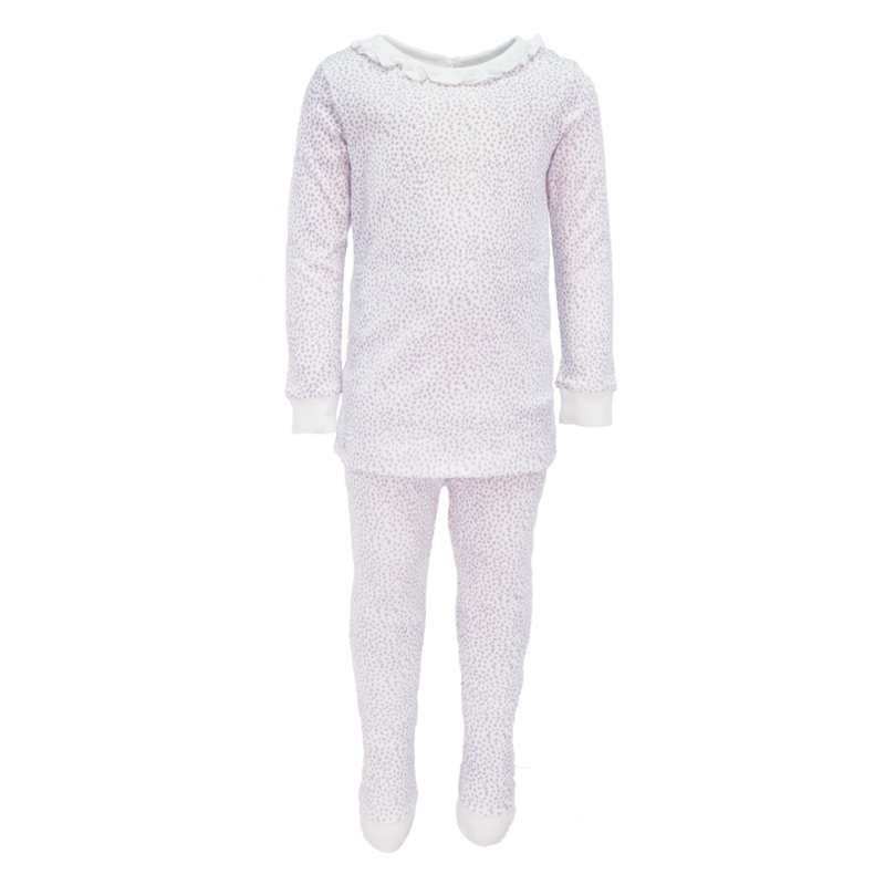 Lila + Hayes Lila + Hayes Ava- Lavender Cheetah Ruffled 2pc Pajama Set