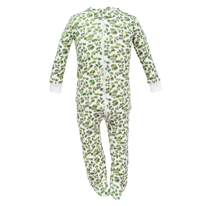 Lila + Hayes Lila + Hayes Parker- Green Camoflauge Zipper Pajama