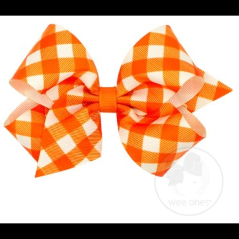 Wee Ones Bows Wee Ones Medium Orange Harvest Gingham Bow