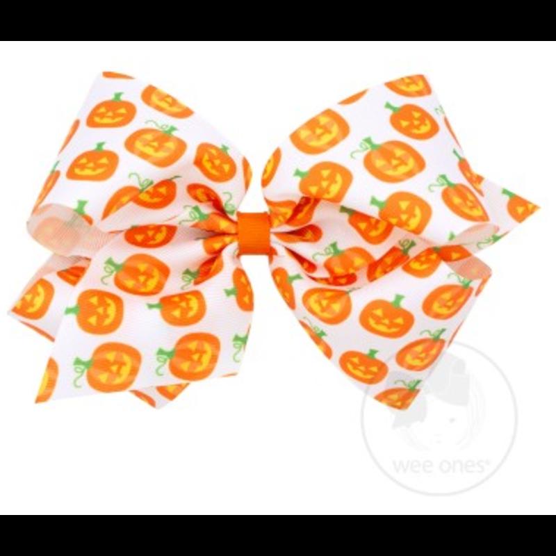 Wee Ones Bows Wee Ones King Pumpkin Print Bow