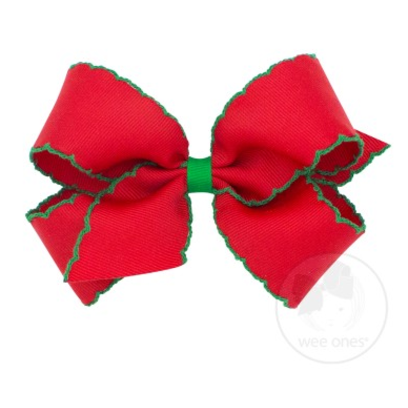 Wee Ones Bows Wee Ones Medium Red/Green Moonstitch Bow