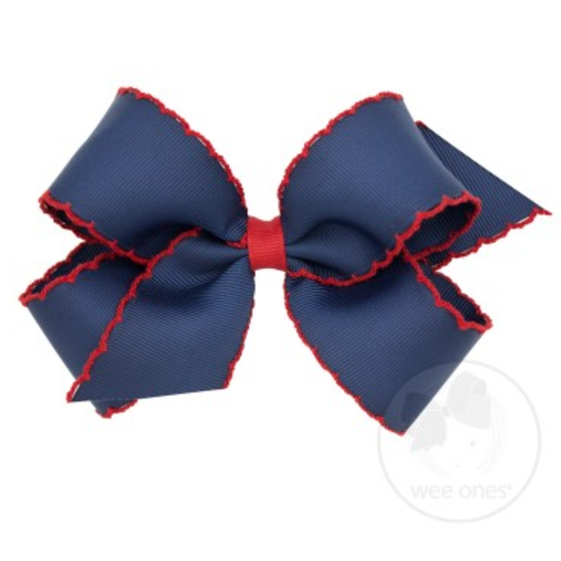 Wee Ones Bows Wee Ones Medium Navy/Red Moonstitch Bow