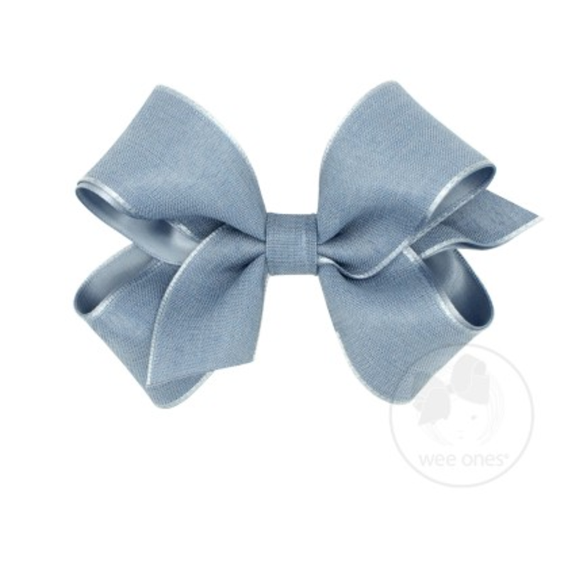 Wee Ones Bows Wee Ones Medium Frech Blue Canvas Linen Bow