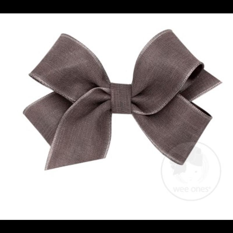 Wee Ones Bows Wee Ones Medium Portobello Canvas Linen Bow