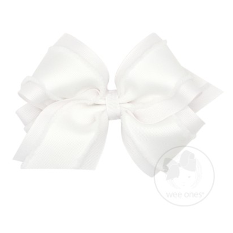 Wee Ones Bows Wee Ones Mini King White Furry Fringe Edge Bow