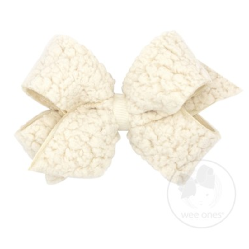 Wee Ones Bows Wee Ones Medium Natural Faux Sherpa Bow