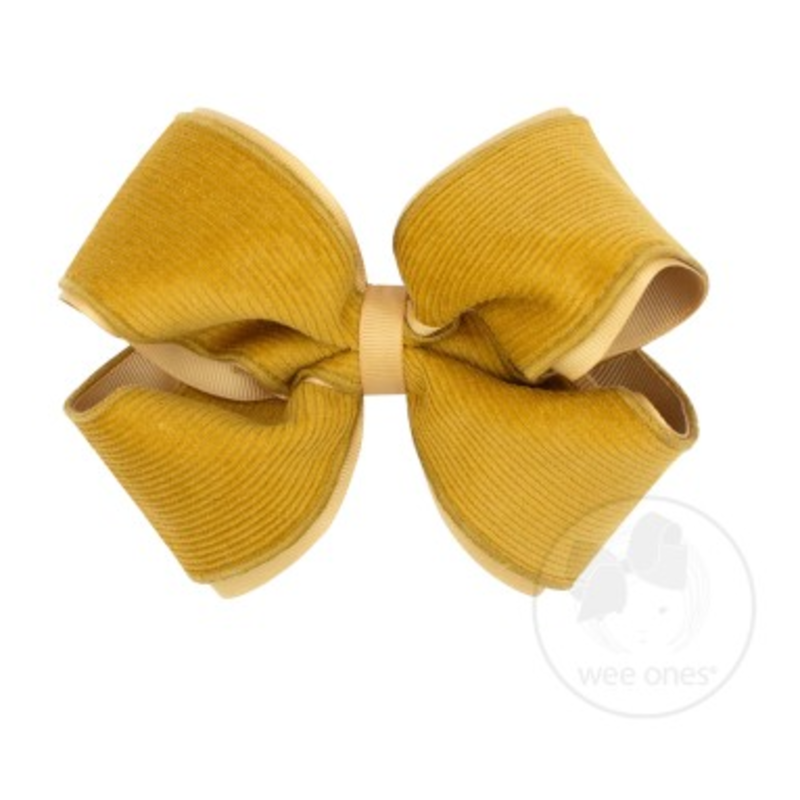 Wee Ones Bows Wee Ones Small King Gold Corduroy Bow