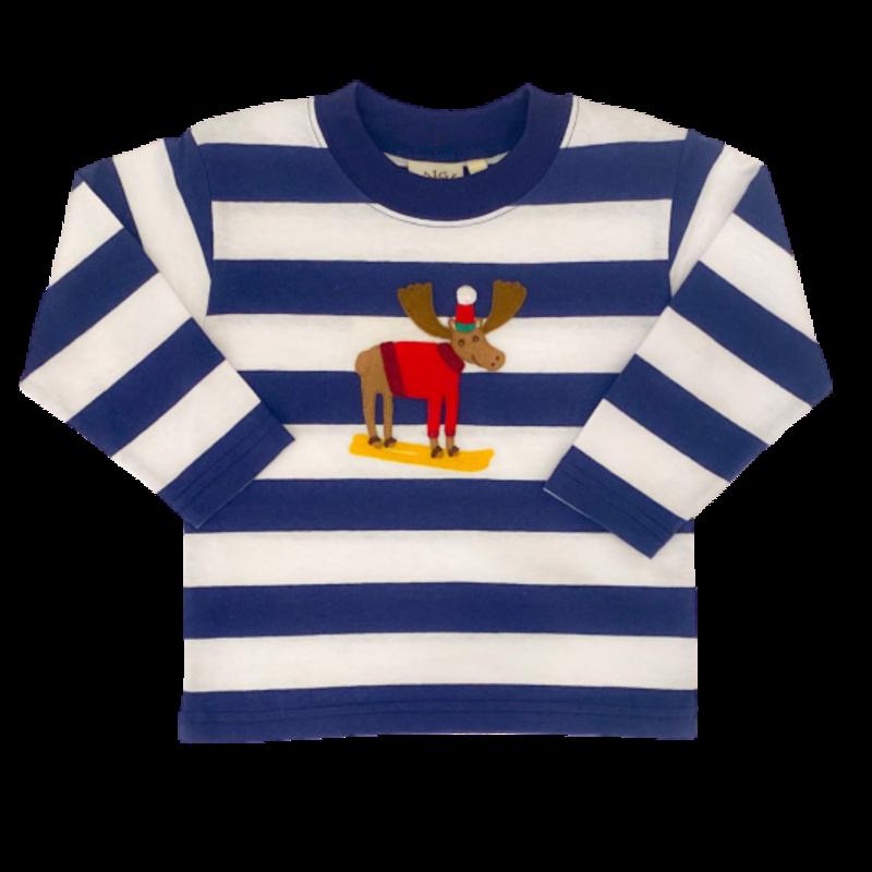 Luigi Luigi Dark Royal Stripe Skiing Moose T-Shirt