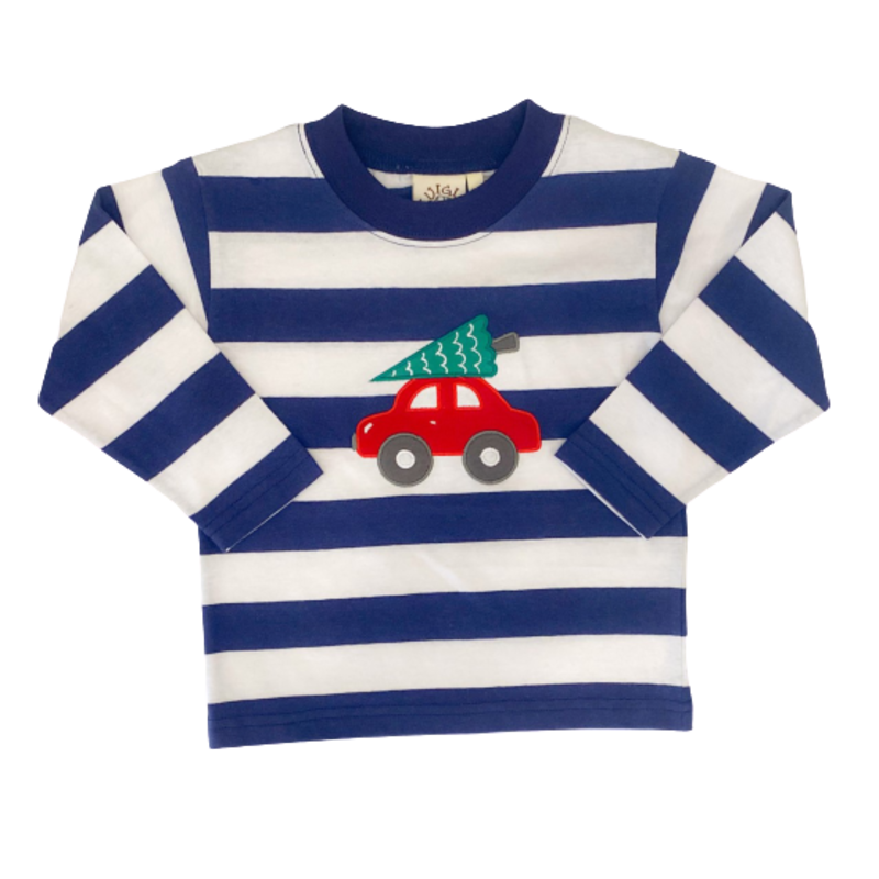 Luigi Luigi Dark Royal Stripe Car w/ Christmas Tree T-Shirt