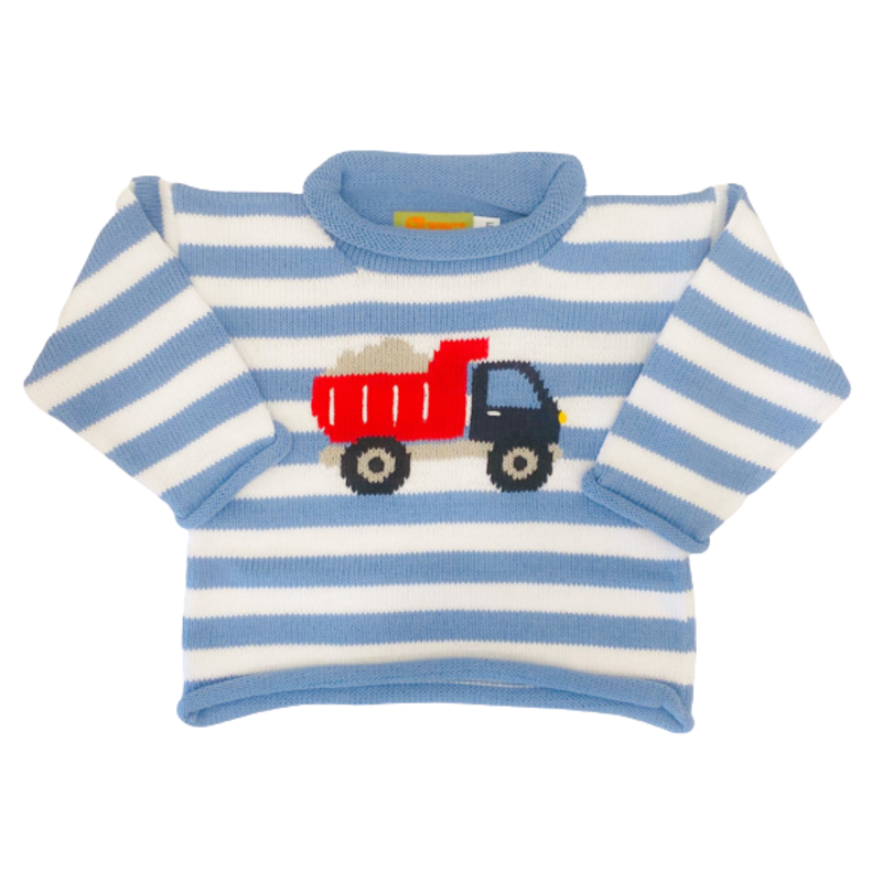 Luigi Luigi Chambray Stripe Dump Truck Sweater