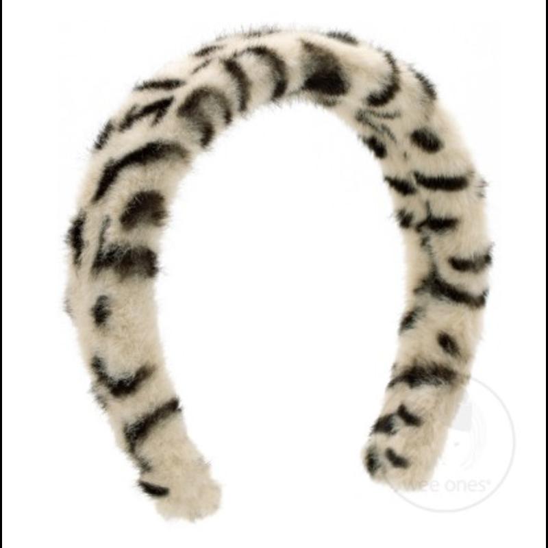 Wee Ones Bows Wee Ones Faux White Cheetah Print Fur Headband