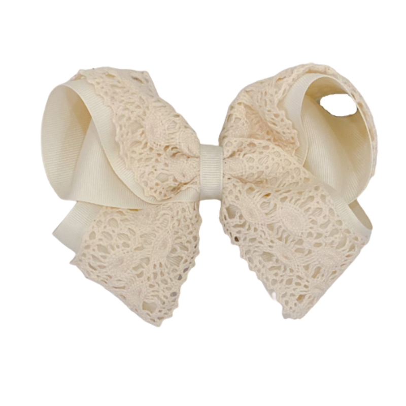 Wee Ones Bows Wee Ones King Antique White Crochet Bow