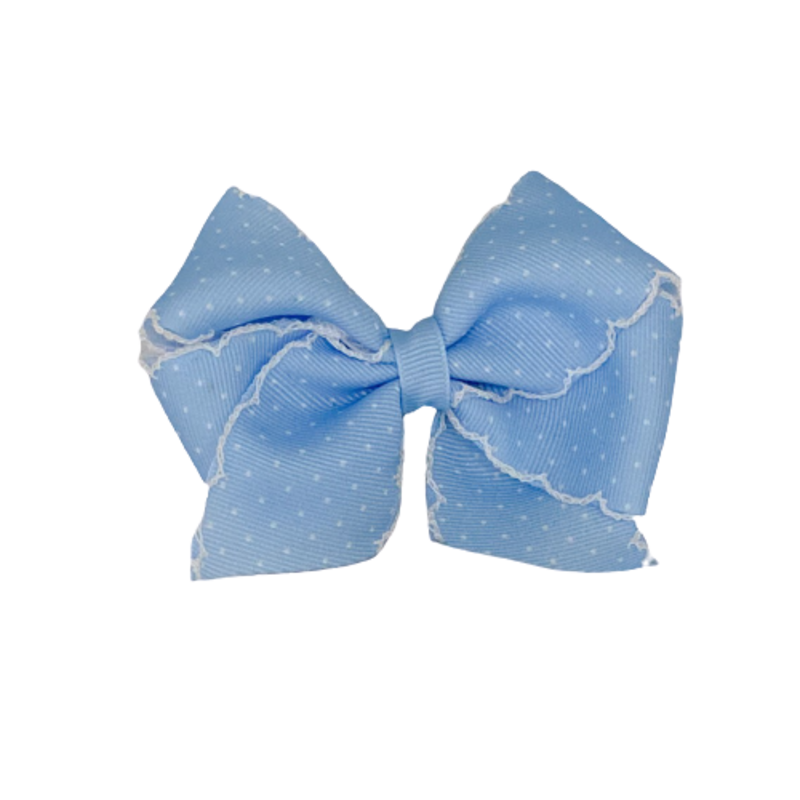 Wee Ones Bows Wee Ones XSML Blue/White Dot Print Bow