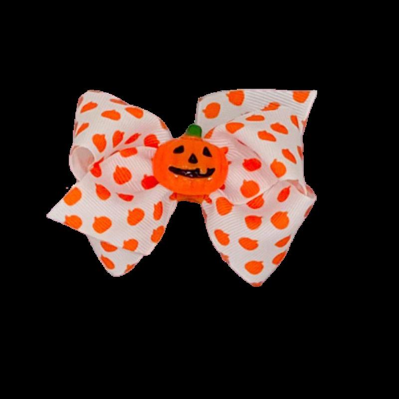 Wee Ones Bows Wee Ones XSML Halloween Pumpkin Print Bow