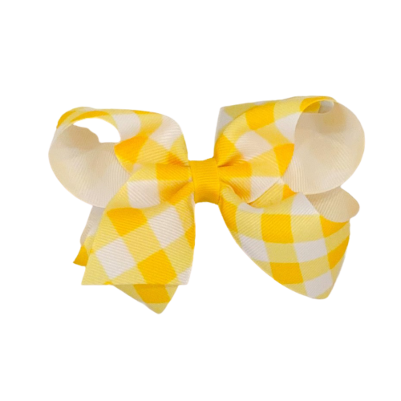 Wee Ones Bows Wee Ones Medium Yellow Jumbo Check Bow