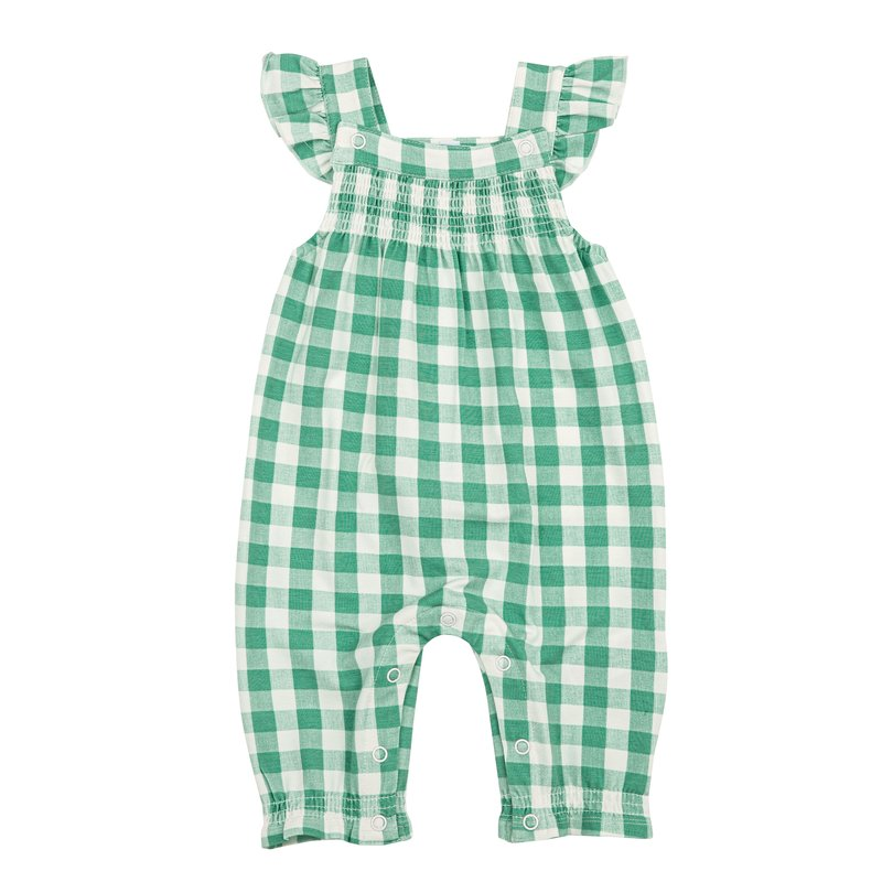Angel Dear Angel Dear Green Gingham Smocked Front Coverall