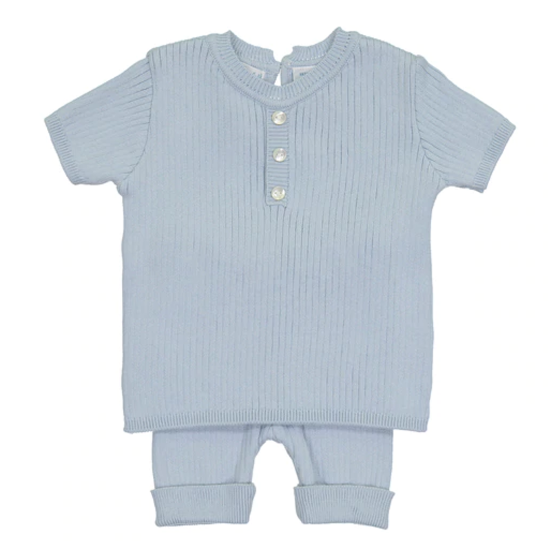 Feltman Brothers Powder Blue Mock Button Short Ribbed Set