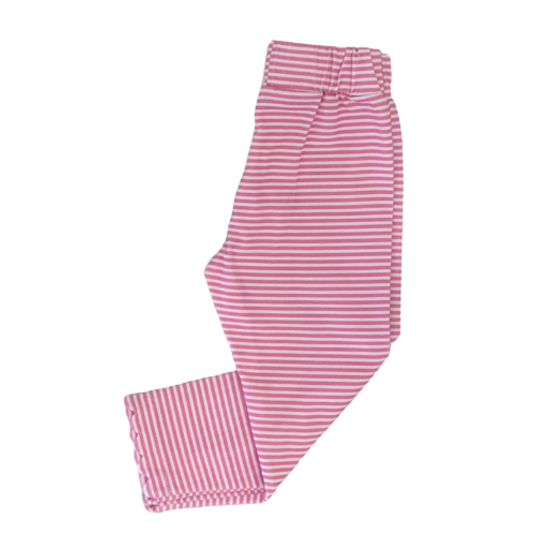 Peggy Green Peggy Green Scallop Legging- Hot Pink Stripe