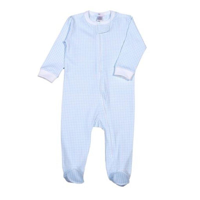 Baby Bliss Blue Gingham Zipper Loungewear