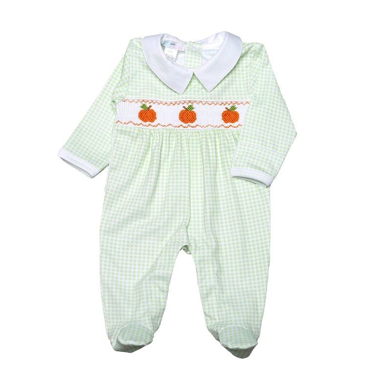 Baby Bliss Pumpkin Patch Green Footie