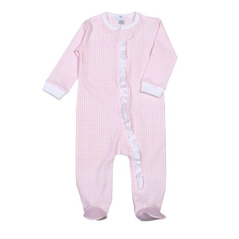 Baby Bliss Pink Gingham Zipper Loungewear