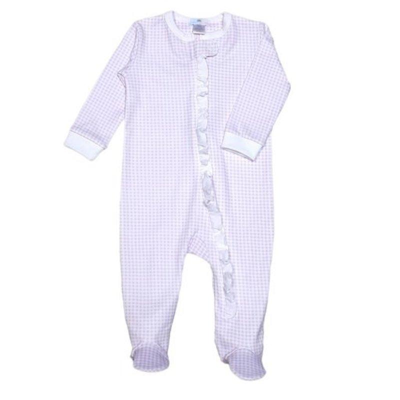 Baby Bliss Purple Gingham Zipper Loungewear