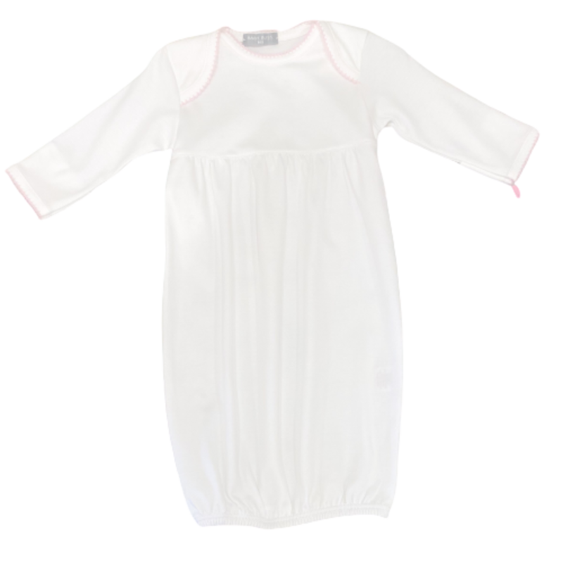 Baby Bliss White Gown w/ Pink Trim