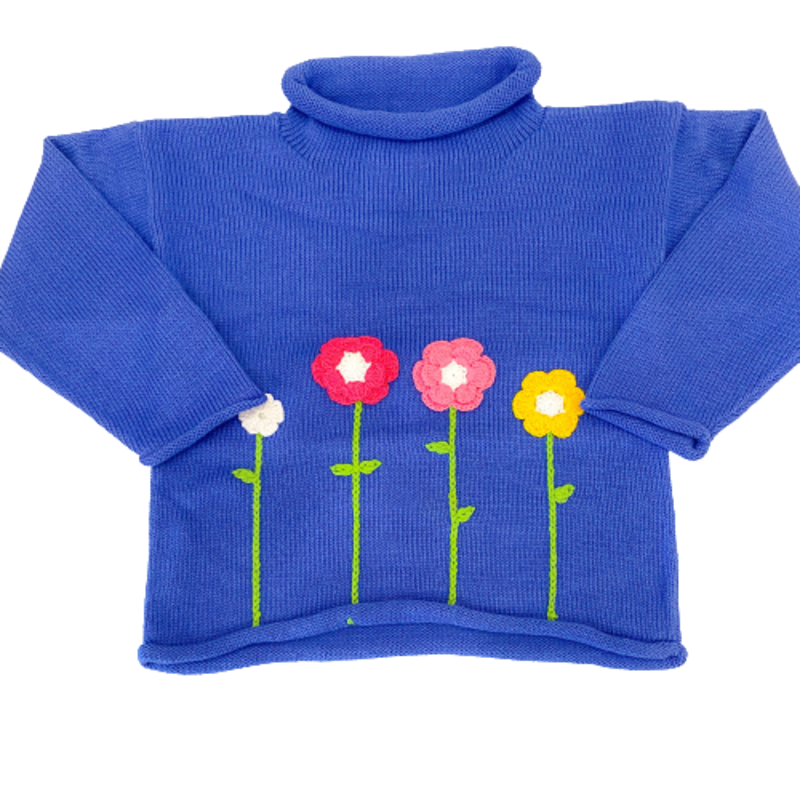 Luigi Luigi Dark Chambray Flower Sweater