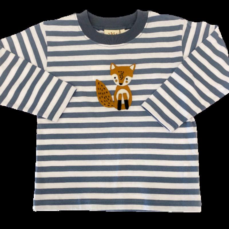 Luigi Luigi Steel Blue Stripe Fox T-Shirt