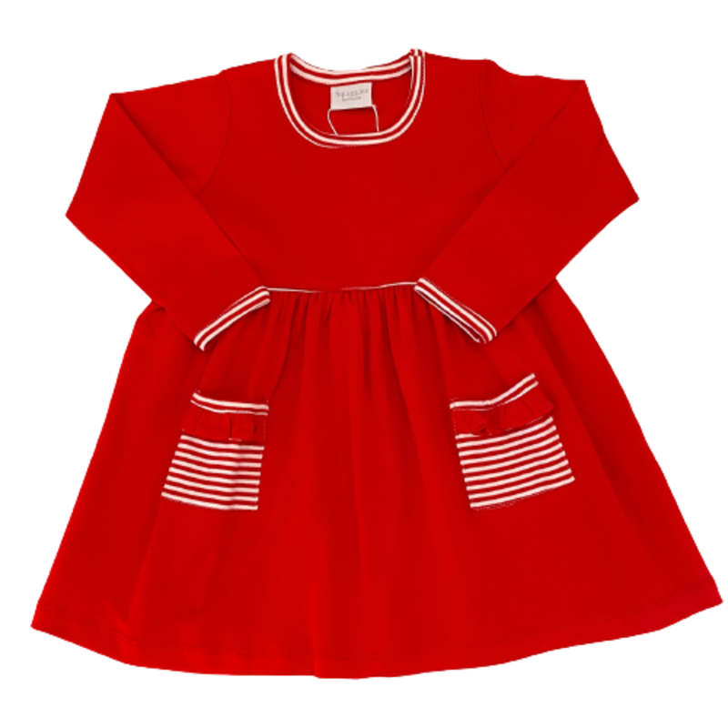 Squiggles Squiggles LS Red Popover Dress