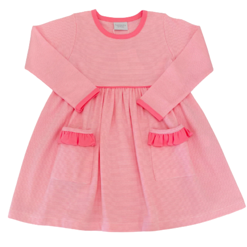 Squiggles Squiggles LS Pink/White Thin Stripe Popover Dress