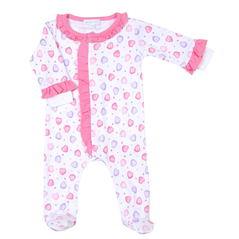 Magnolia Baby Magnolia Baby Lil' Sweetheart Printed Ruffle Front Footie