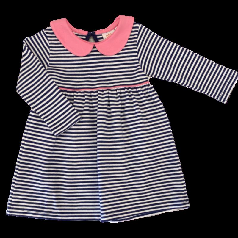 Luigi Luigi Light Bubblegum Collared Dark Royal Stripe Dress