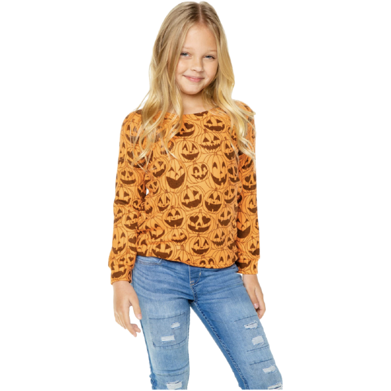Chaser Knit Raglan Happy Jack-O-Lanterns-Blaze