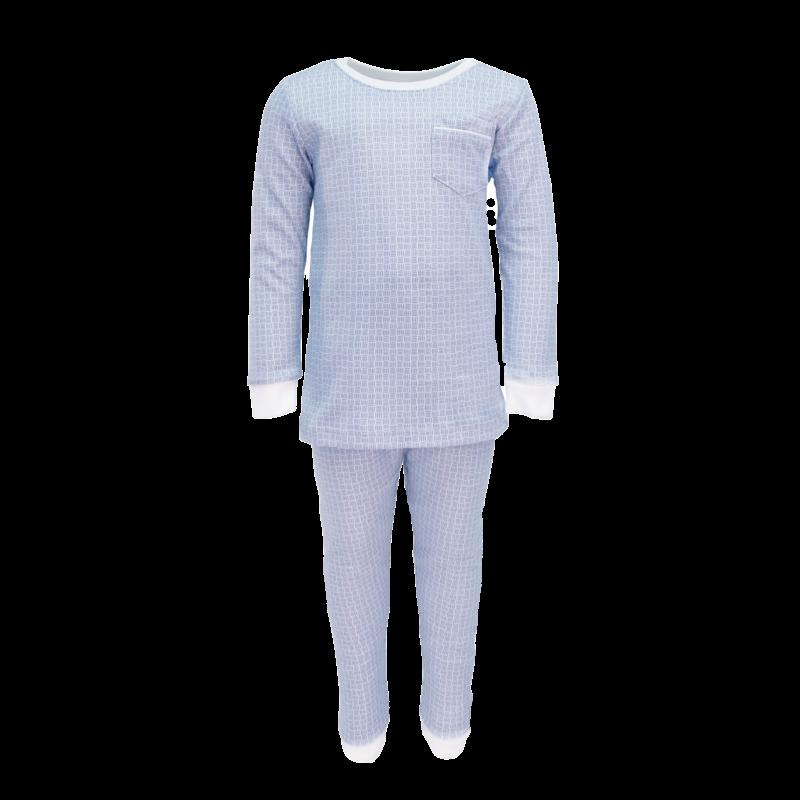 Lila + Hayes Lila + Hayes Bradford- Blue Basket Weave 2pc Pajama Set