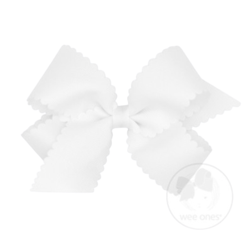 Wee Ones Bows Wee Ones Medium White Scallop Edge Bow